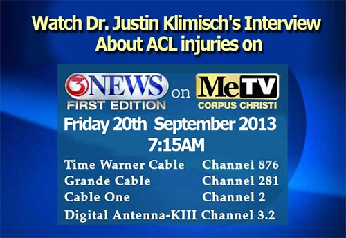 Dr. Justin Klimisch will be interviewed on Channel 3 (KIII) News Frist Edition on ME TV , Friday September 20, 2013 at 7:15am