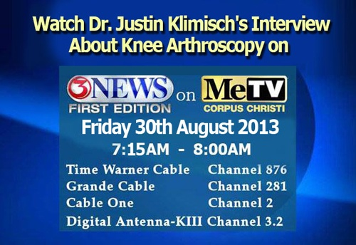 Dr. Justin Klimisch will be interviewed on Channel 3 (KIII) News Frist Edition on ME TV , Friday August 30, 2013 between 7:15am-8am