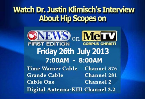 Dr. Justin Klimisch will be interviewed on Channel 3 (KIII) News Frist Edition on ME TV , Friday July 26, 2013 between 7am-8am